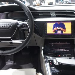 Audi e-tron interior with TV